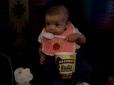 3 Month Old Baby Eats Ice Cream