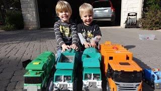 Garbage Truck Videos for Children - Toy Bruder and Tonka Garbage Trucks