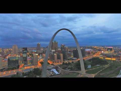 Gateway Arch and St. Louis skyline 4K Drone footage