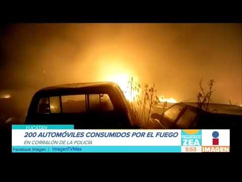 Incendio en corralón de Mérida consume 200 vehículos | Noticias con Francisco Zea
