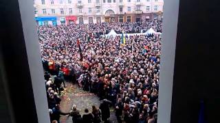 Thousands of people sing the anthem Ukraine. Rivne
