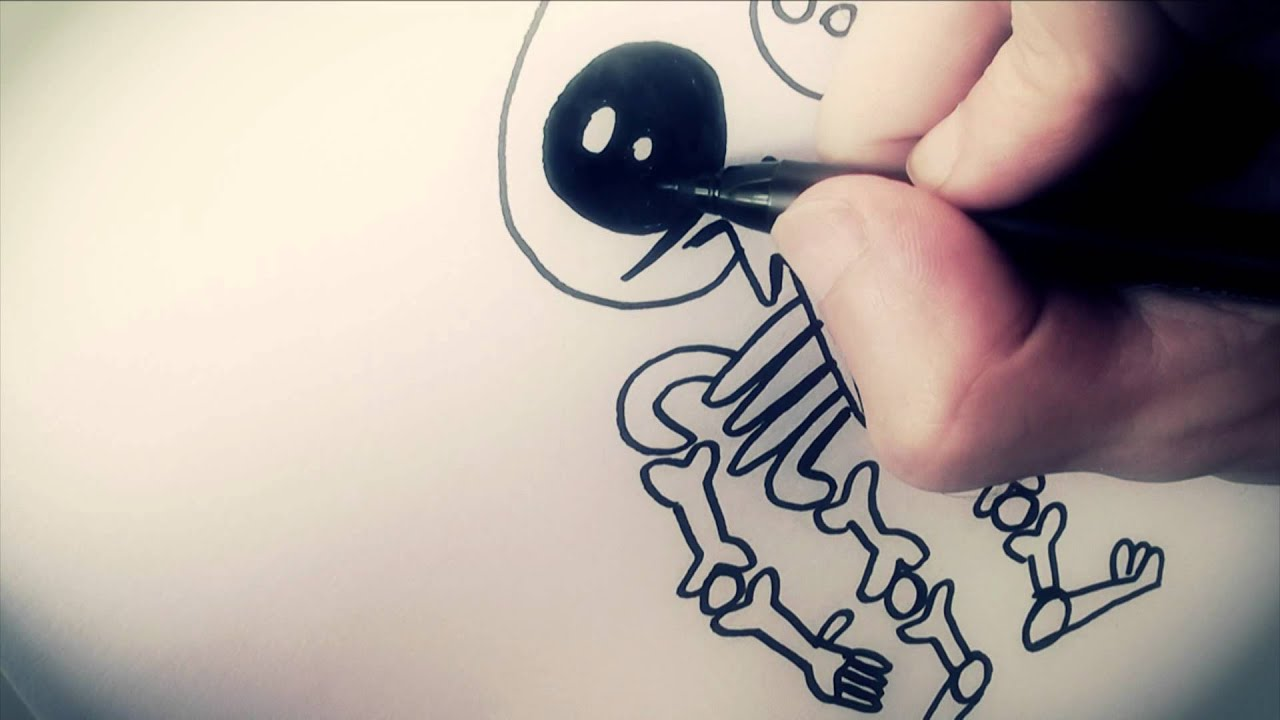 How To Draw A Cartoon Skeleton By Garbi KW