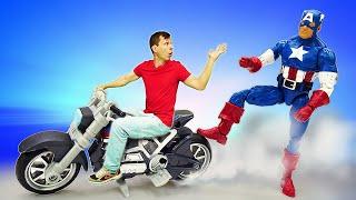 Видео супергерои - Капитан Америка и Крутой Мотоцикл! - Лучшие игры машинки для мальчиков