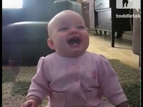 Baby Laughing Hysterically At Dog Eating Popcorn.