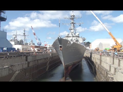 Damaged USS Fitzgerald In Dry Dock For Repairs