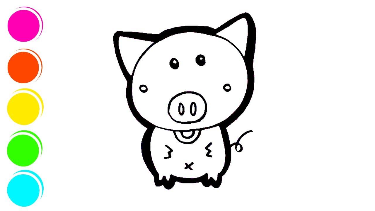Cara Melukis Dan Mewarnai Pig Piggy Untuk Anak