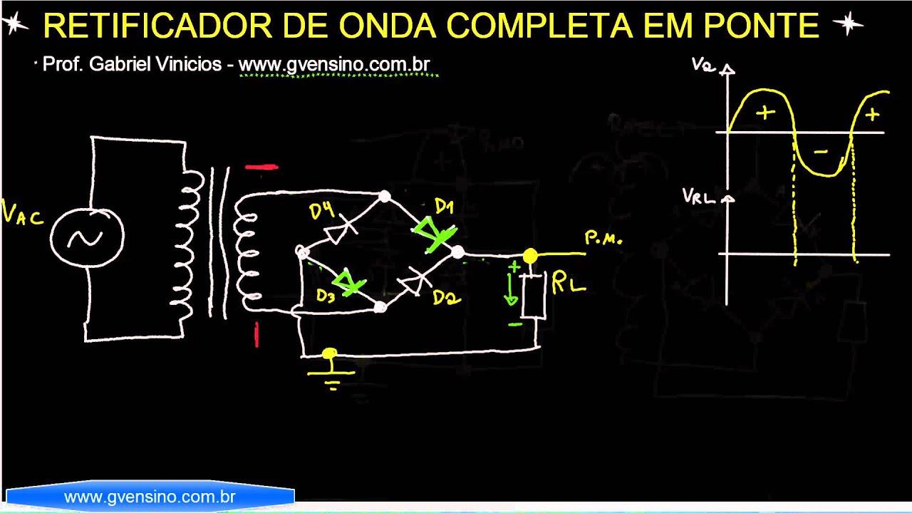 Circuito Retificador : Aula funcionamento do retificador de onda completa em ponte