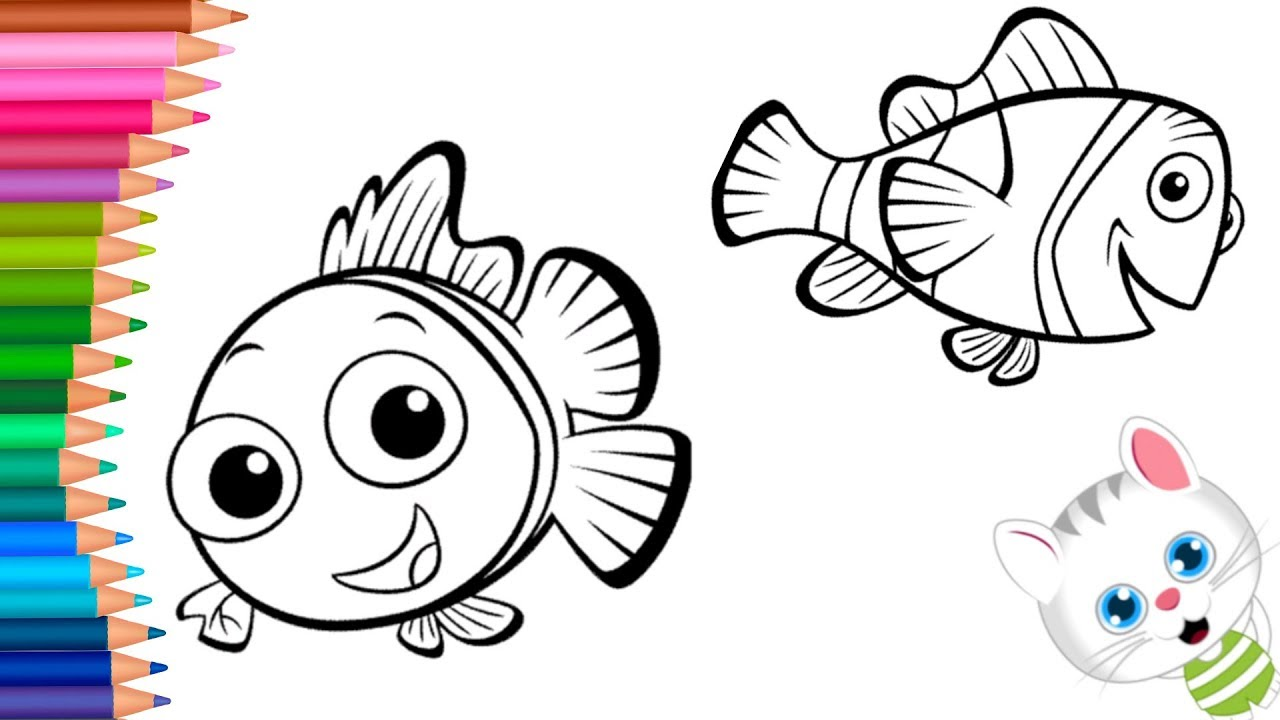 Findet Nemo ausmalbilder  Wie zeichnet und färbt  Kleine Hände Malbuch