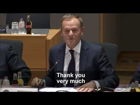 Donald Tusk reacts to his re-election as European Council President