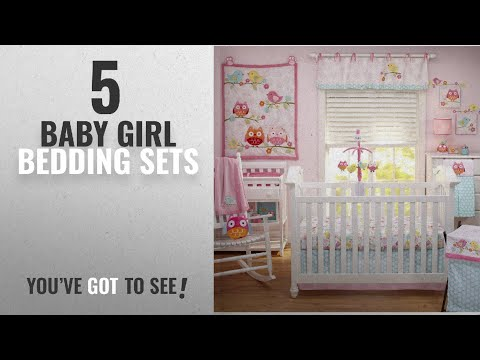 Top 10 Baby Girl Bedding Sets [2018]: Nojo Love Birds 4 Piece Comforter Set with Diaper Stacker