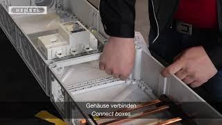 Mi - Gehäuse verbinden, Wanddichtung setzen / Connection of boxes, how to insert wall gasket
