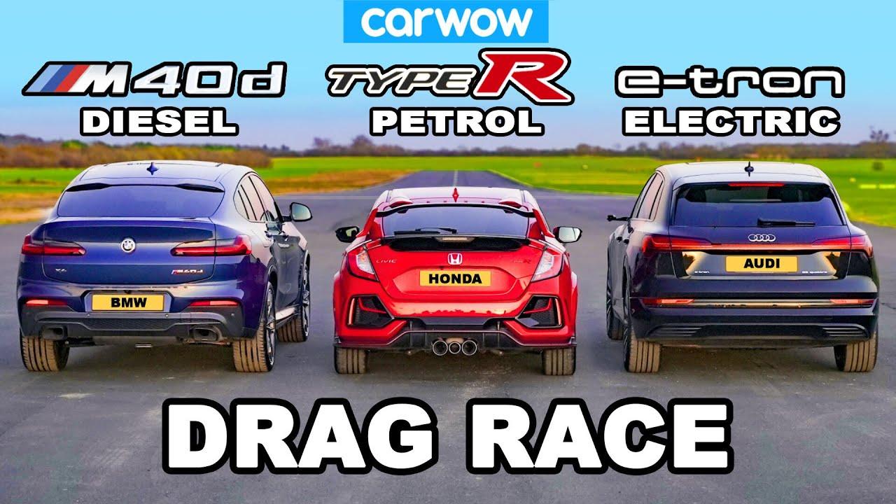 BMW X4 M40d v Civic Type R v Audi e-tron: DRAG RACE *Diesel v Petrol v Electric*