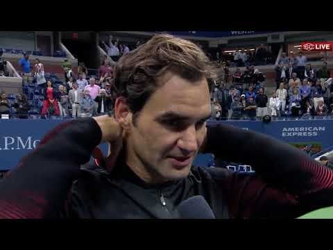 """Roger Federer Interview after Tiafoe Match - """"happy to be back"""" US Open 2017 [HD60]"""