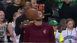 Kevin Love Gets DRILLED in the Face by Basketball During Pre-Game Warmups