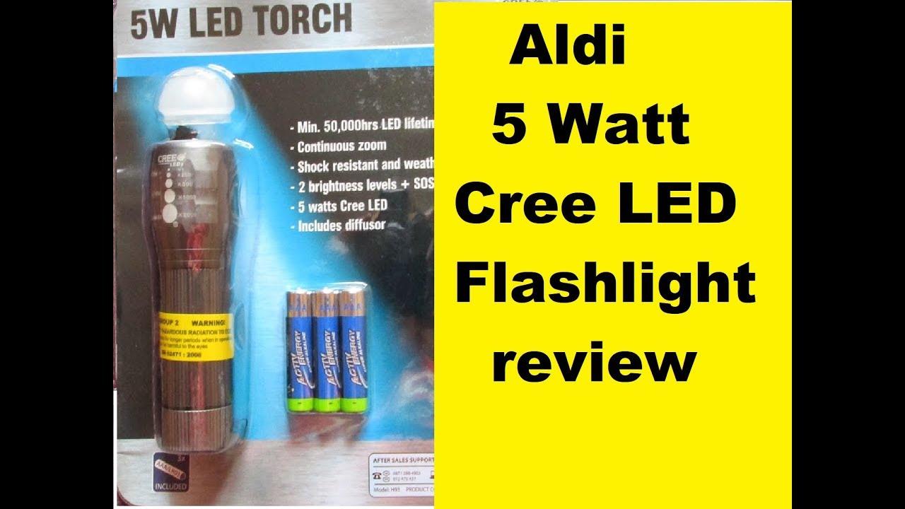 Aldi 5watt Cree LED Torch - YouTube