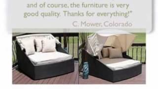 Capri Resin Wicker Double Chaise Lounge W/ Retractable Canop