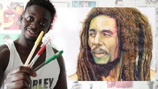 3 PEN CHALLENGE -Drawing Bob Marley - WITHOUT USING BLACK - DeMoose Art