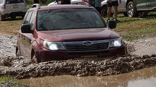 Subaru Forester doesn't stop in mud, sand and stones