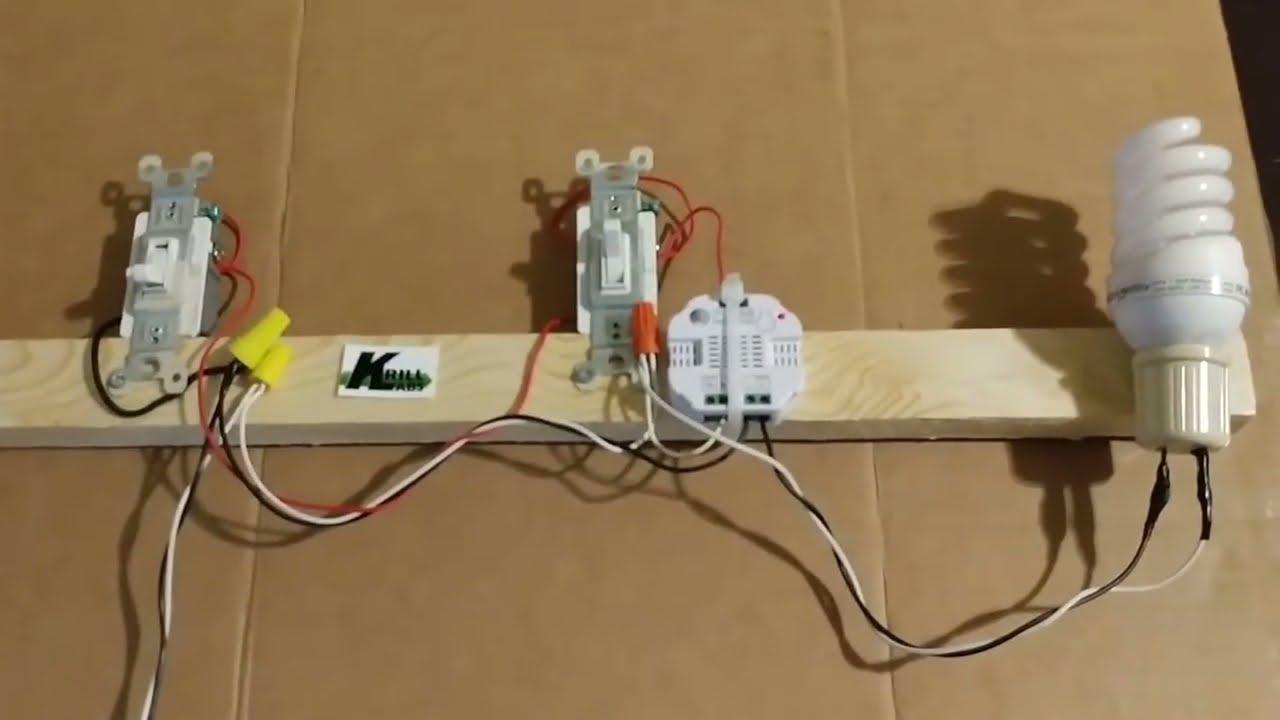 z wave smart micro switch on a 3 way light circuit [ 1280 x 720 Pixel ]
