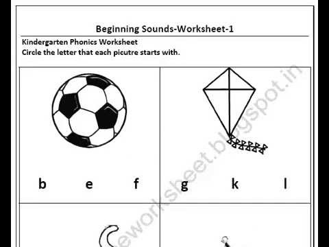 Free Download Kindergarten Beginning Sound Worksheets - YouTube