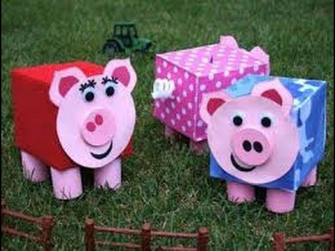 Manualidades con cajas de cart n para ni os 3 youtube for Make a piggy bank craft