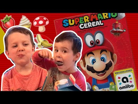 Trying Super Mario Cereal for the first time- Ayden & Ethan's review