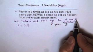 Father and Son Age Word Problem with two variables Linear System