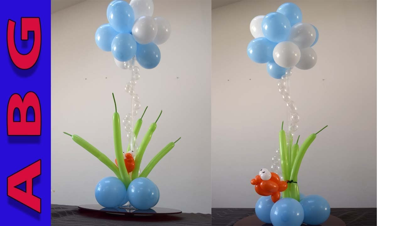 Under the sea theme balloon centerpiece party decorations for Balloon decoration ideas youtube