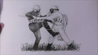 Speed drawing: Fighting soldiers.