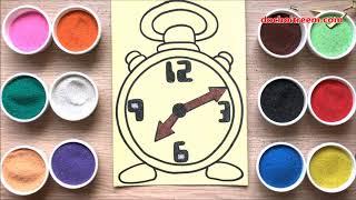 Chị Chim Xinh TÔ MÀU TRANH CÁT CHIẾC ĐỒNG HỒ - Đồ chơi trẻ em - Alarm clock sand painting