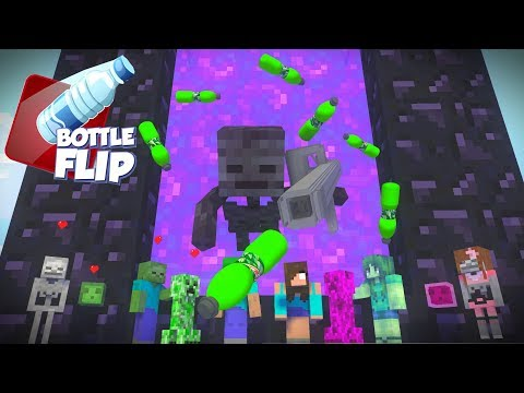 Monster School : BOY VS GIRL - BOTTLE FLIP Challenge | Love Story - Minecraft Animation