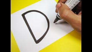 Karikatür ÖRDEK Mektup ''D'' nasıl açabilirim . Kağıt üzerinde çocuklar için sanat çizim öğrenmek