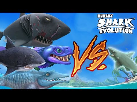Hungry Shark Evolution TIBURÓN DE ARRECIFE VS TIBURÓN BLANCO, MEGALODON, SR. MORDISCOS Y MAS!
