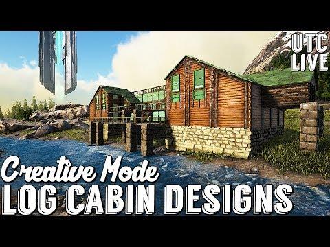 Ark CREATIVE MODE Building :: Log Cabin Mansion :: Ark Cabin Building Designs