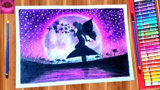 How to draw beautiful fairy scenery drawing with oil pastel step by step