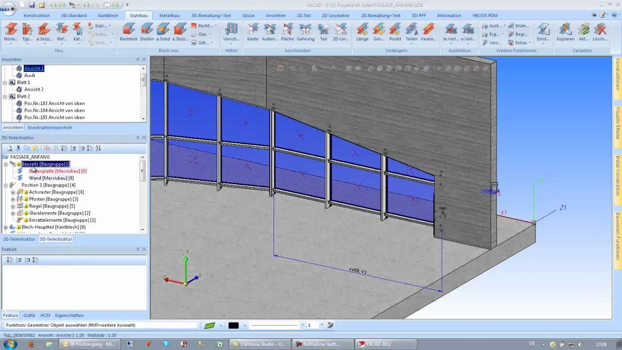HICAD 2012 - Fassadenbau - Metallbau Tutorial - YouTube