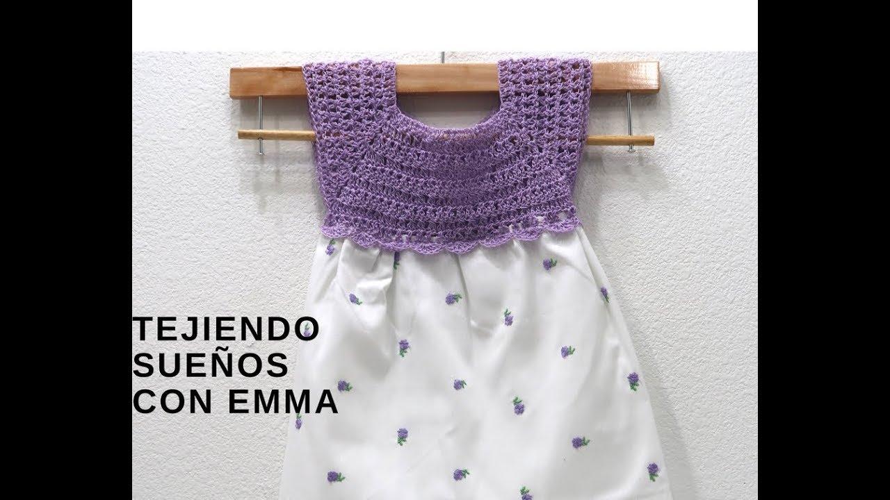 d450262d7 Como Hacer vestido con Canesu a Crochet y tela de 6-12 meses - YouTube