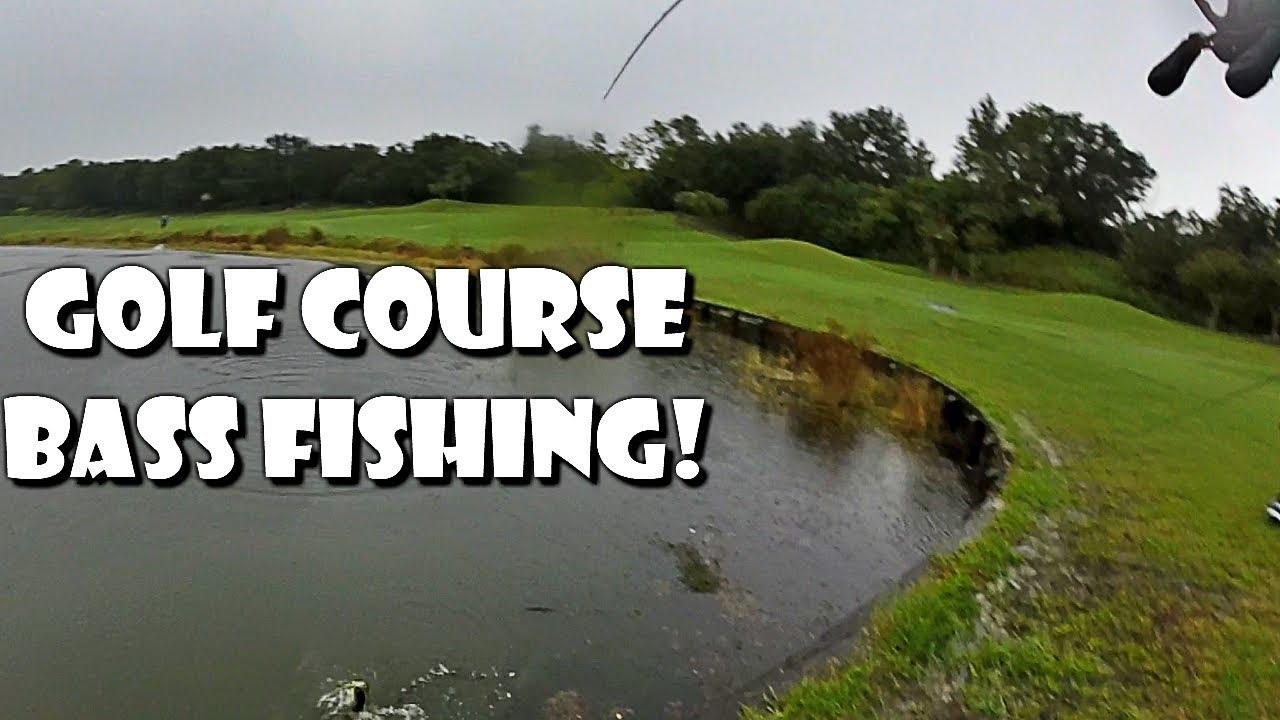 Golf course bass fishing in the rain youtube for Bass fishing in the rain