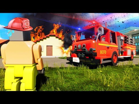 BECOMING LEGO FIREFIGHTERS AND LEGO RESCUE TEAMS! (Brick Rigs Gameplay Roleplay) Lego Rescue Mission