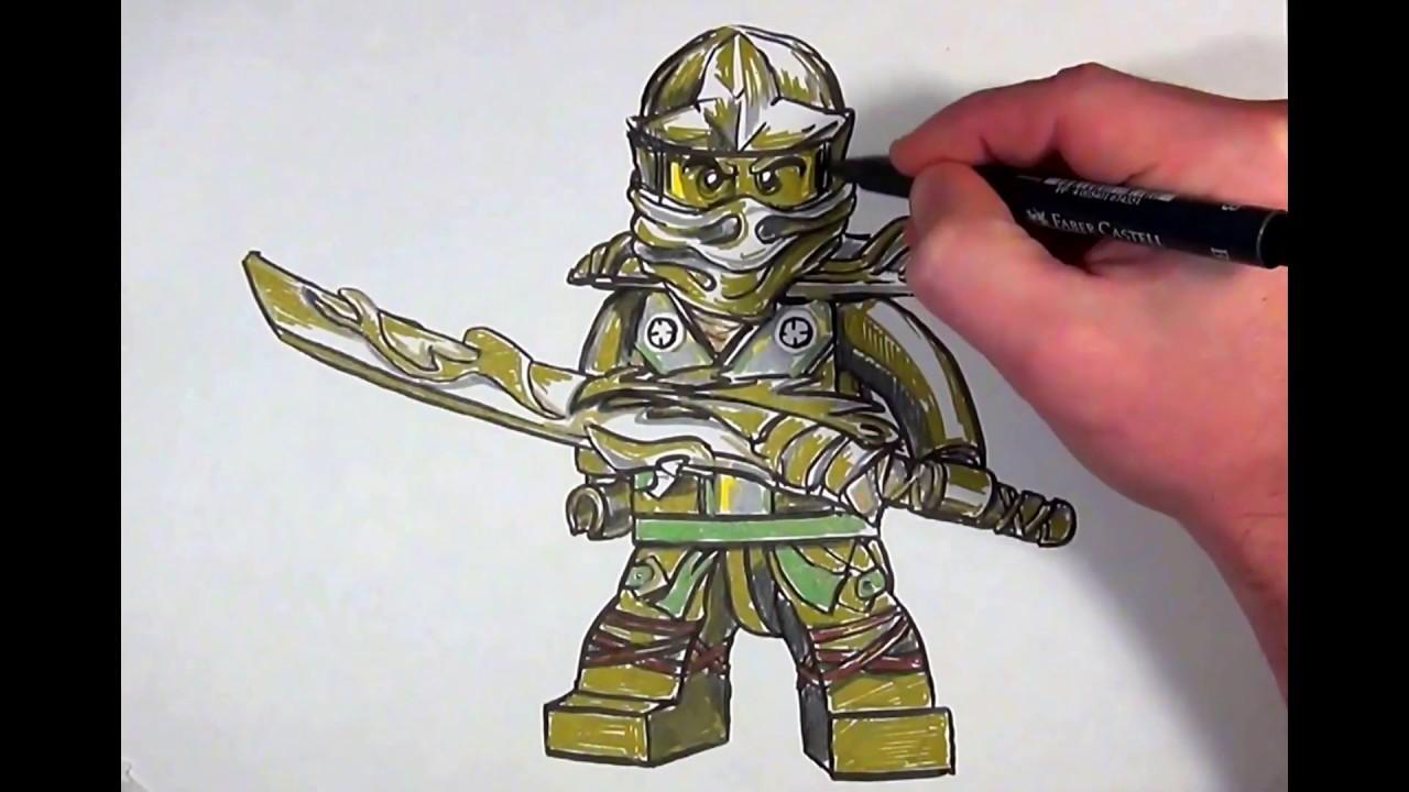 How To Draw Golden Ninja From Ninjago Lego Youtube