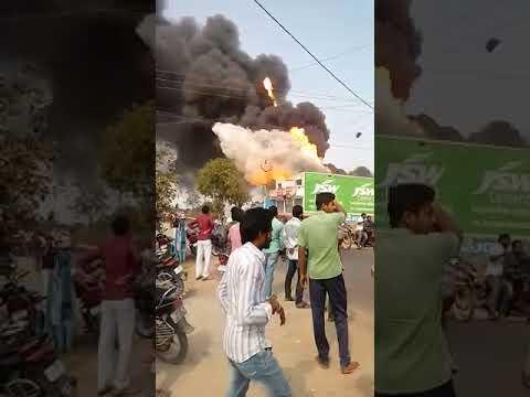 fire explosion in village petrol tanker,dangerous explosion...gas tanker  accident..in a village