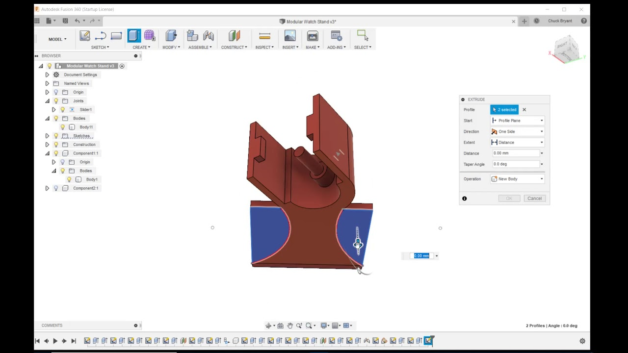 Fusion 360 - Ender 3 - Design and Print a Adjustable, 3D Printed, Watch  Stand Part 3