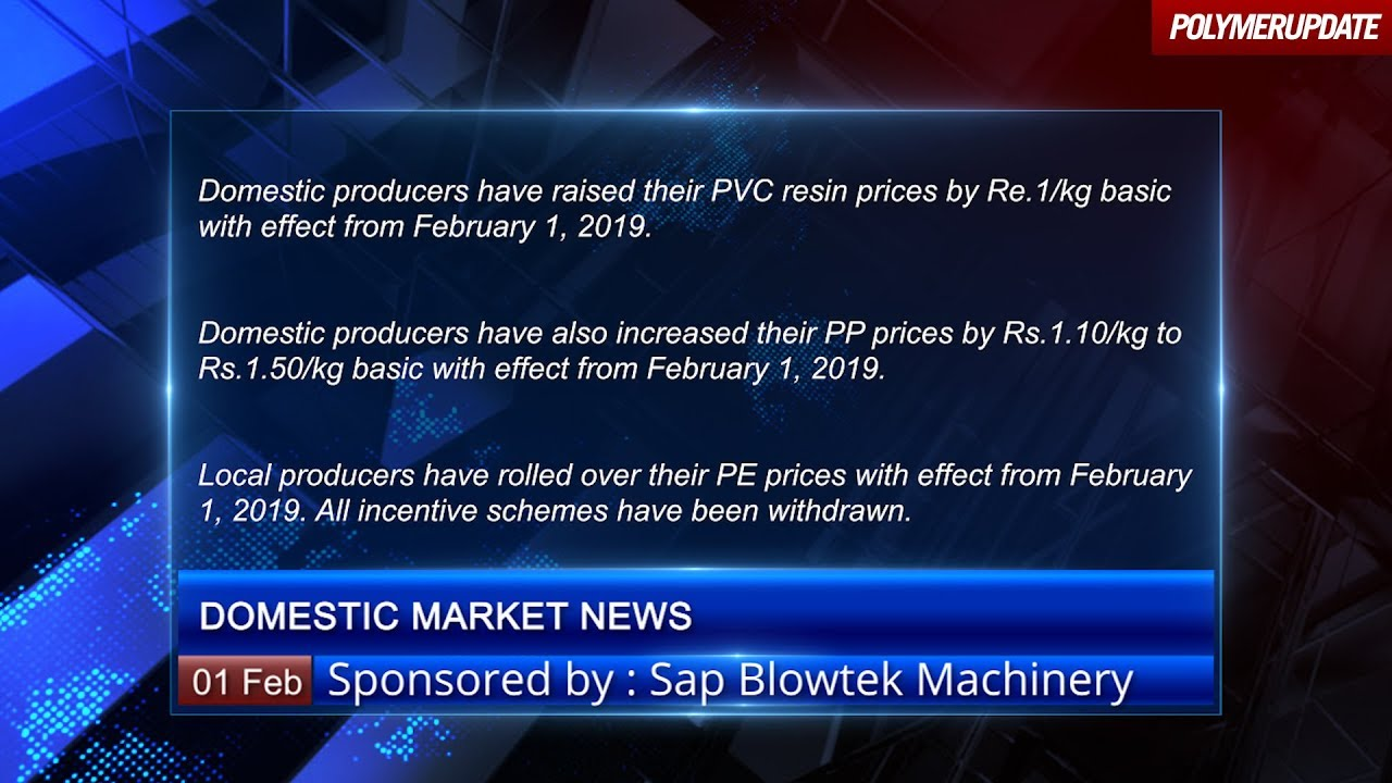 Domestic producers increase PVC prices by Re 1 per kg basic