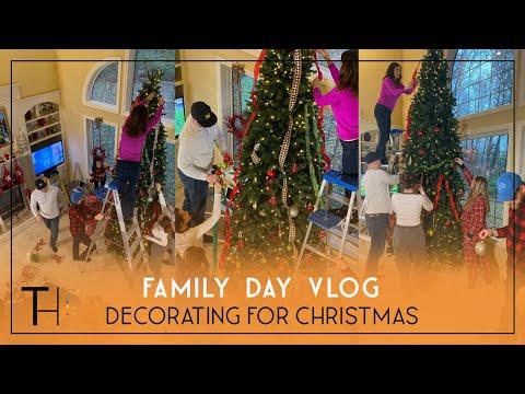 Family Dinner and Christmas Decorating | Family Vlog