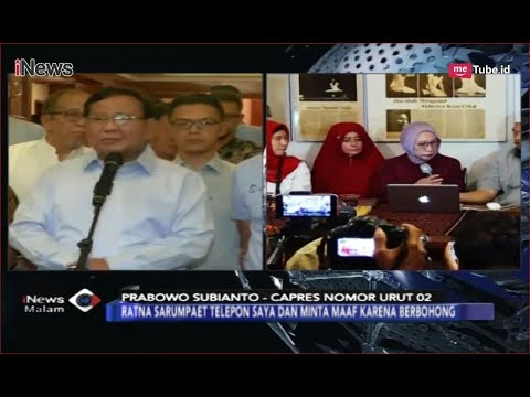 KECEWA! Prabowo Minta Maaf dan Minta Ratna Sarumpaet Mundur - iNews Malam 03/10