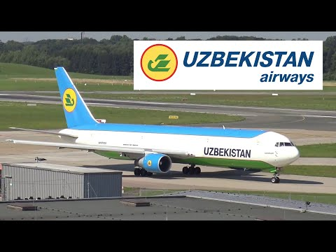 UZBEKISTAN AIRWAYS Boeing 767 departing Hamburg Airport