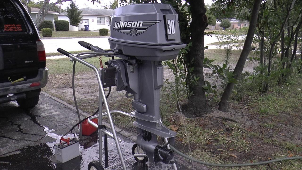 2000 Johnson 30hp 2 Stroke Outboard Motor Tiller Youtube