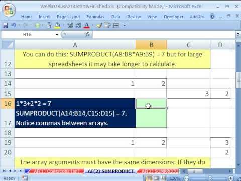 Highline Excel Class 37: SUMPRODUCT function