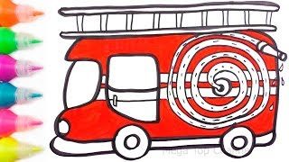 How to Draw Fire truck with Watercolour Paints | Learn Colors for Kids | Fire truck Coloring Pages