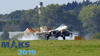 """Супер короткая посадка Су-57! Авиасалон """"МАКС-2019"""". Закрытый показ для прессы."""